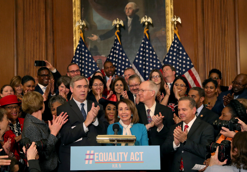 WASHINGTON, DC - MARCH 13: House Speaker Nancy Pelosi (D-CA) speaks during a news conference where House and Senate Democrats introduced the Equality Act of 2019 which would ban discrimination against lesbian, gay, bisexual and transgender people, on March 13, 2019 in Washington, DC. (Photo by Mark Wilson/Getty Images, Used with permission.)