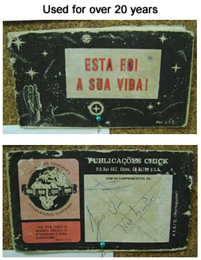 Front and back picture of the Portuguese tract.