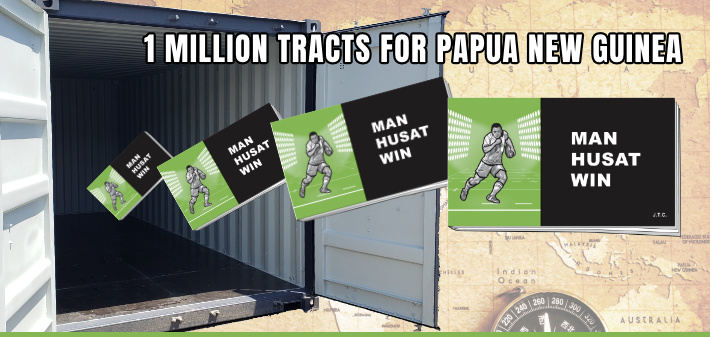 1 million Chick tracts will travel to Papua New Guinea in this ocean container.