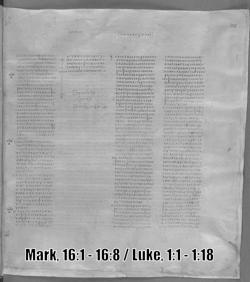 152 Figure 58 Q77 F5r, Page of Sinaiticus showing gap in text missing Mark 16_9-20 - Labeled.tif