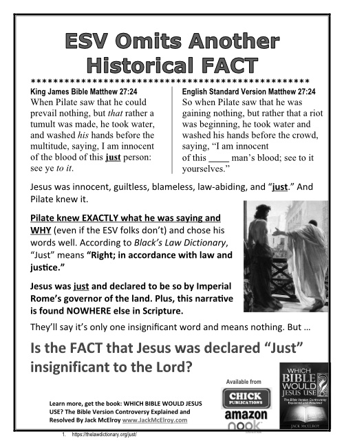ESV Omits Another Historical FACT