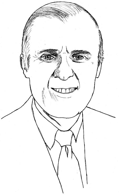 Figure 17. Sam Moore (Salim Ziady), CEO of Thomas Nelson Publishers (Art by Deborah Daniels)