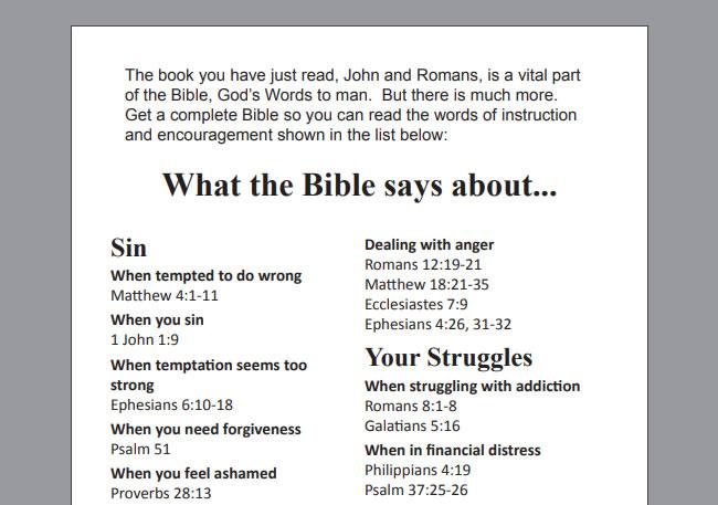 Chick com: John/Romans booklets with KJV scriptures